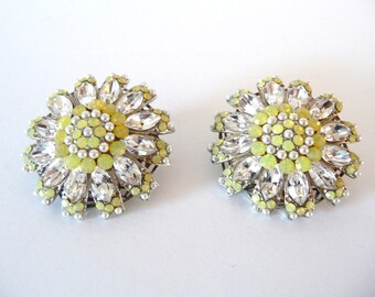 Vintage Swarovski Crystal Earrings Yellow Opal and Clear Crystals Silver Seed Pearls, Silver Tone Clip On Earrings from TreasuresOfGrace