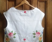 Boho floral top embroidered tops white cotton lace blouse ladies blouses womens clothing lace back vintage linens Dolly Topsy Etsy UK