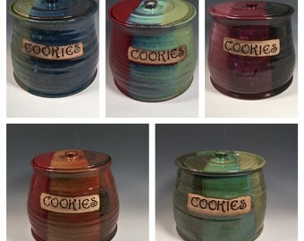 Custom Cookie Jar - Made to Order Lidded Jar - Large Canister - Kitchen Storage - Choose your Text - Choose your Color - Ceramics - Pottery