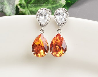 Swarovski Earrings - Orange Earrings Silver - Crystal Drop Earrings - Bridesmaids Earrings - Bridesmaid Jewelry - Teardrop Earrings