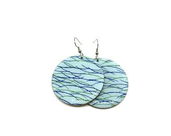 Turquoise Japanese Paper Earrings, Aqua, Modern, Chiyogami, Large Dangles, Laser cut, Resin finish, Pattern will vary, 2 sizes to chose from