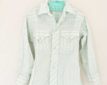 Girls Vintage Clothes H Bar C Western Shirt Cowgirl