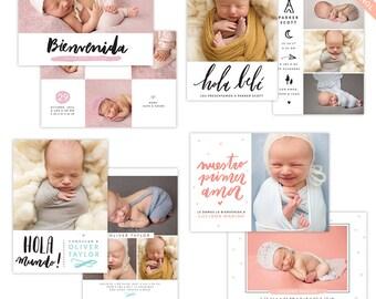 Photoshop Birth announcement templates bundle - Spanish collection e1299