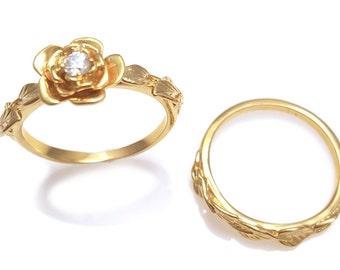 Wedding Ring Set, Flower and Leaves Engagement Set, Engagement Ring Set, Leaf Ring, Art Nouveau Ring, Diamond Leaves Ring, Flower