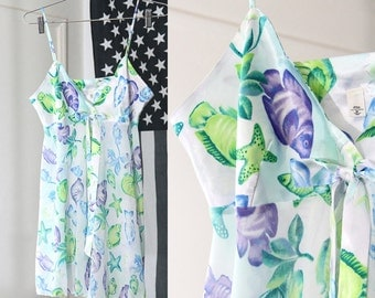 Pretty Fish and Sea Creatures Print Silky Partially Sheer Super Short Slip Dress/Top