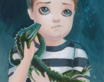 Pugsley Addams SIGNED Mini PRINT Simona Candini Gothic Big Eyes Lowbrow Art Pop Surrealism
