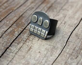 Silver Calavera ring #8