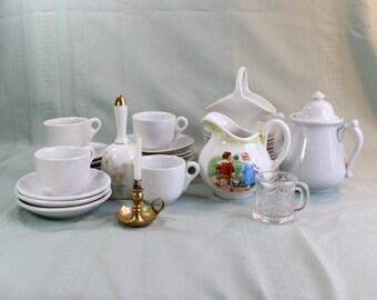 HUGE child's tea/ coffee set collection-32 pieces-  Jack & Jill Pitcher, plates, cups, saucers, teapot, extras - Antique/ Vintage