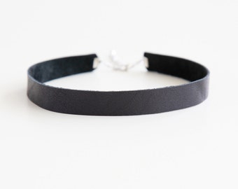 Black 10mm leather choker necklace- plain black genuine leather choker with silver clasp closure