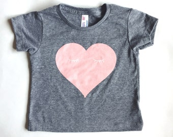 HEART TEE - Gray Tri-blend Winking Heart T-Shirt
