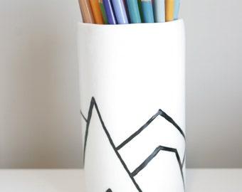 Mountain outline vase or Pencil holder