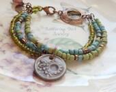 Multi Strand Beaded Bracelet, Ceramic Flower Charm Bracelet, Blue, Green, Purple Indonesian Glass Beads, Gypsy Bracelet, Boho Copper Jewelry