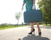 Blue suitcase, hardshell hardcase luggage, 1960s 1950s mid-century, small SALE