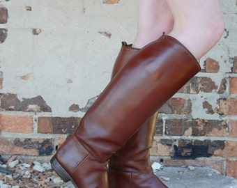Vintage leather riding boots, custom bespoke E. Vogel, tall brown dress field 9