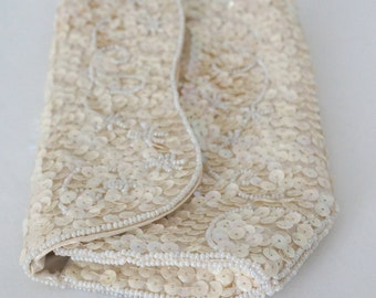 Creamy White Beaded Clutch Vintage Purse // Womens Formal Wedding Prom 50s 60s
