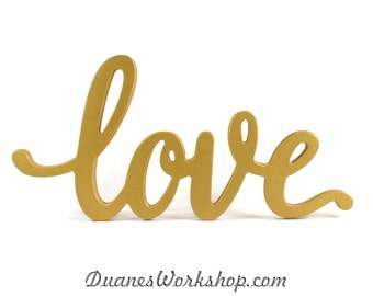 love sign wedding decor home decor wooden sign rustic wooden sign gold love sign sweetheart table