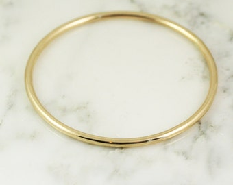 3.25mm Solid 10k Gold Bangle Bracelet - Simple Gold Bracelet - 3mm Bangle