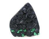 Azurite Malachite Druzy Cabochon, Deep Blue Druzy Rosettes with Green Malachite Accents Raw Top Natural Semiprecious US Gemstone, DIY jewel