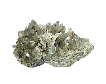 Chalcopyrite Smoky Quartz Rock Crystals, Pseudomorph White Quartz on Metal Ore Matrix from Peru Mineral Geo Specimen, Rockhound Estate Gem