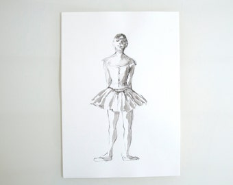 Original ballerina pencil drawing on paper- Edgar Degas inspiration drawing, pose dancer, pencil drawing, art, pencil art by Cristina Ripper