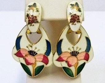 1980s Cloisonne Pierced Clip Earrings White Pink Teal Blue Green Enamel Flower Butterfly Butterflies Earrings Wedding Bridal Jewelry DD 1004