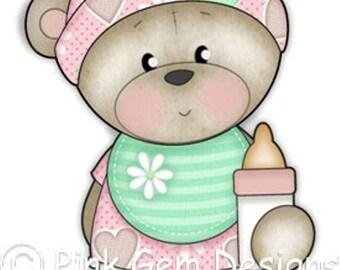 Digi Stamp Baby Bella. Makes Cute Birthday Cards. Teddy Bear. Baby Girl. Birth Announcement. Baby Shower