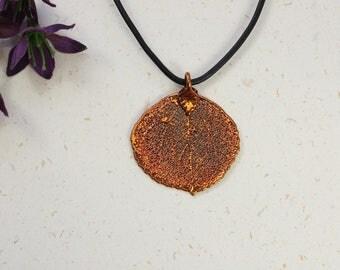 SALE Leaf Necklace, Copper Aspen Leaf, Real Aspen Leaf Necklace, Copper Leaf Pendant, SALE97