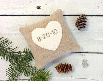 Personalized Pillow, Rustic Heart, Wedding Gift, Bridal Shower Gift, Anniversary Gift, Rustic Wedding, Balsam Pillow, 4x4 square Pillow