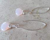 Rose Czech Glass Teardrop Earrings