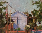 ORIGINAL Urban America Landscape Oil Painting. Plein Air. Small painting. Impressionist street corner on summer day. Affordable home decor.