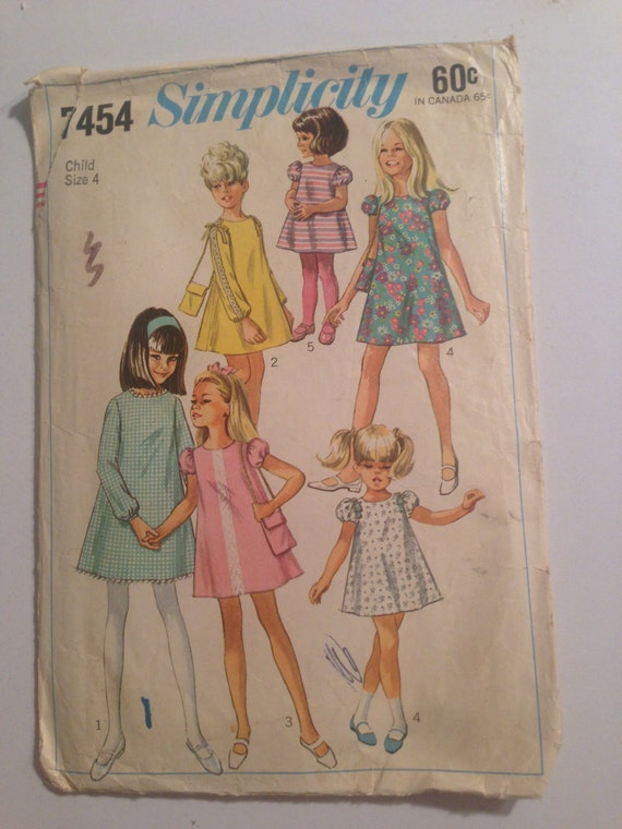 Vintage 60s Simplicity 7454 Sewing Pattern Girls Dress and Bag Size 4