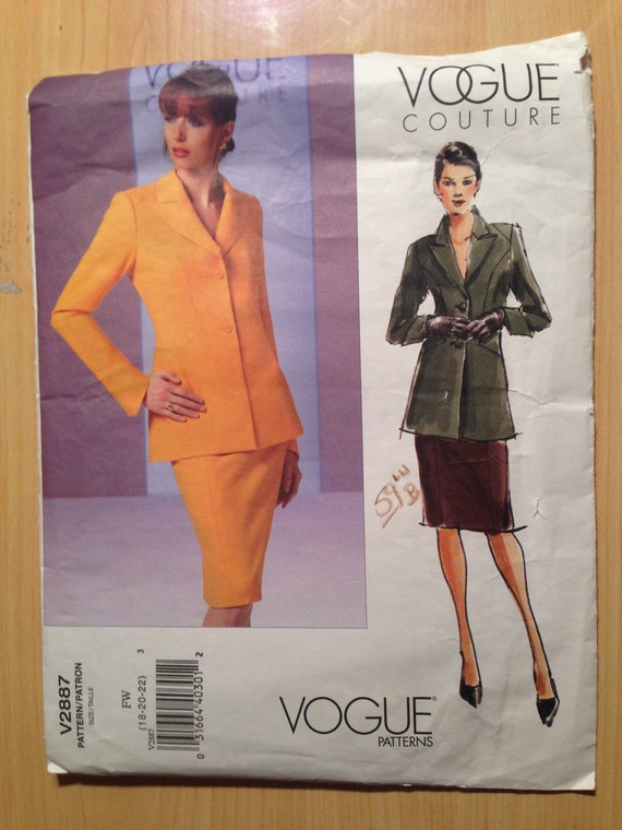 Vogue Couture Sewing Pattern 2887 Misses/Misses Petite Jacket and Skirt Size 18-22