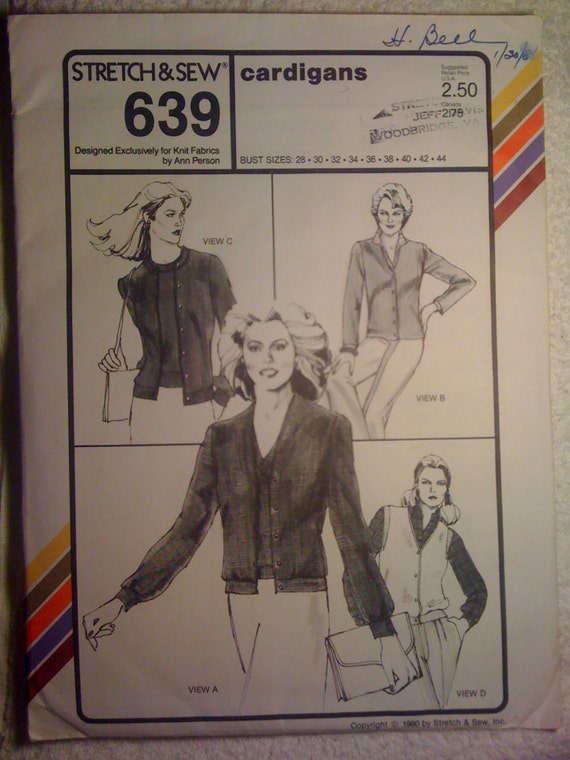 Stretch and Sew Sewing Pattern 639 80s Ladies Cardigans Bust Size 28-44 Uncut