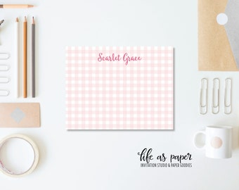 GINGHAM NOTE CARD stationary - flat note cards - pack of 24
