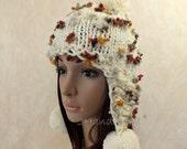 Super Chunky Hand Knit Hat Ivory Merino Wool Beanie Rain Ribbed Russian Ushanka Skull Cap Striped Flowers Colorful Women Teens Pom Pom