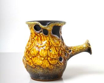 Vintage Cyclope Pottery handled jug vase, 1960's French studio pottery fat lava, Emaux Miel / Honey glaze, mid century ceramics