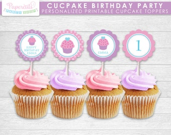 Cupcake Theme Birthday Party Cupcake Toppers | Purple & Pink | Personalized | Printable DIY Digital File