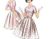 Vintage 50s 60s Sewing Pattern McCall's 5764 Rockabilly Style Garden Tea Dress Full Skirt Plus Size Full Figure Bust 38