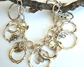 Multi Ring Silver Dangle Bracelet, Silver Chain and Rings Bracelet, Charm Style Silver Bracelet, Boho Style Dangle Bracelet