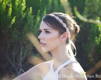Rose Gold Headband, Rose Gold Wedding Headpiece, Swarovski Crystal Wedding Headpiece, Rose Gold Accent Weddings