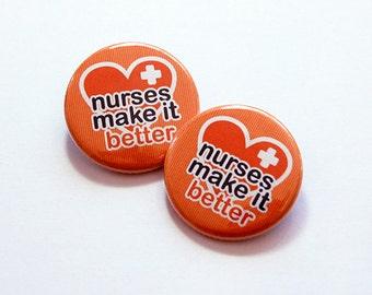 Nurses Make It Better, Nurse Shoelace Charm, Running shoe charm, Stocking stuffer, Gift for nurse, Nurse shoelace tag, Orange (6046)