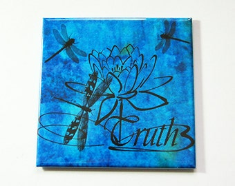 Truth magnet, Magnet, Inspiring, Fridge magnet, Blue Magnet, Dragonfly, Blue, Locker magnet (5319)