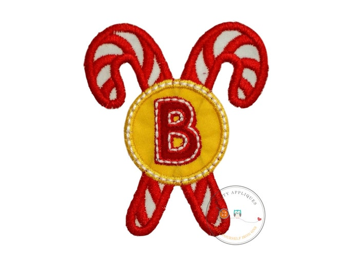 Christmas candie cane initial B - iron embroidered fabric applique patch embellishment- ready to ship