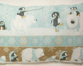 Polar Bear Penguin Winter Pillow Arctic Accent Pillow