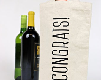 Wine Tote - Recycled Cotton Canvas - Classic Congrats