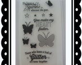 Polymer Stamp Set,butterfly,text,words stamp,stars, Scrapbook supplies,Cardmaking supplies,Planner Stamps