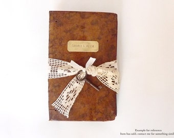 Rustic Wedding Guest Book, Unique Journal, Vintage Leather and Lace Guest Book With Blank Pages, Personalized, Hand Bound