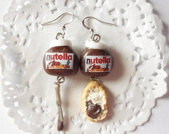"Bread & Nutella earrings!! Nutella inspired ""hazelnut cream""  - handmade miniature polymer clay food jewelry"