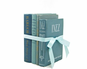 Blue Decorative Books, Old Book Set, BOok Decor, vintage Books, Wedding decoration, Instant Library, Teal Book Decoration, BOok collection