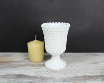 Vintage Milk Glass Hobnail Pedestal Base Votive Tapered Glass Candle Holder
